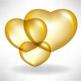Balões dourados do coração Imagem de Stock