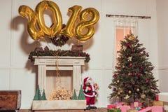 2018 balões dourados do sinal Foto de Stock