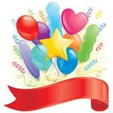 Balões e bandeira ilustração stock