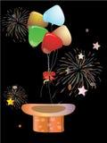 Balões e chapéu mágico Ilustração Stock