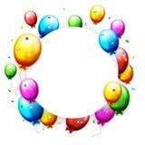 Balões e confetes coloridos do aniversário com lugar para o texto Foto de Stock Royalty Free