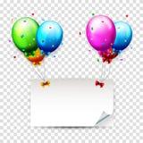 Balões e confetes coloridos do aniversário com lugar para o texto Fotos de Stock Royalty Free