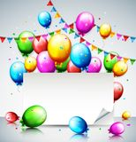 Balões e confetes coloridos do aniversário com lugar para o texto Fotografia de Stock