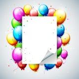 Balões e confetes coloridos do aniversário com lugar para o texto Imagens de Stock