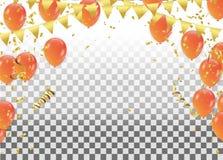 Balões e confetes do feriado Ilustração do feriado do vetor do Co ilustração royalty free