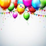 Balões e confetes para o aniversário dos partidos Fotografia de Stock Royalty Free