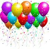 Balões e confetti ilustração royalty free