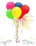 Balões e fogos-de-artifício para celebrações Imagem de Stock