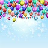 Balões e fundo da estamenha Fotografia de Stock