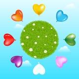 Balões em torno da esfera da grama com. Vetor Fotografia de Stock Royalty Free