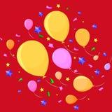Balões em um partido, fundo vermelho ilustração stock