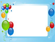 Balões em uma beira azul Fotos de Stock Royalty Free