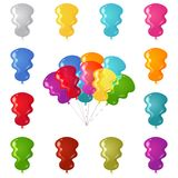 Balões festivos coloridos ajustados Foto de Stock Royalty Free