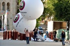 Balões gigantes para comemorar o aniversário do nascimento de Heydar Aliyev Foto de Stock