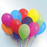 Balões - ilustração do cartão de aniversário Fotografia de Stock Royalty Free