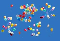 Balões isolados no azul Foto de Stock Royalty Free
