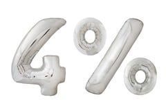 Balões metálicos do cromo de quatro por cento no branco Fotografia de Stock Royalty Free