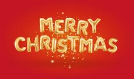 Balões metálicos do ouro do Feliz Natal Imagem de Stock Royalty Free