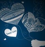 Balões na forma do coração Dia do Valentim Fundo para um cartão do convite ou umas felicitações Fotografia de Stock