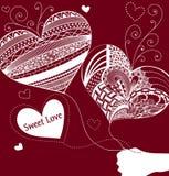 Balões na forma do coração Dia do Valentim Fundo vermelho Imagens de Stock