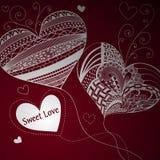 Balões na forma do coração Dia do Valentim Fundo Vinous Imagens de Stock