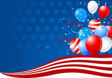 Balões na onda da bandeira americana Fotos de Stock