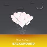 Balões no céu noturno. Imagem de Stock