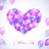 Balões no formulário do coração ilustração royalty free