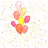 Balões no fundo das estrelas ilustração do vetor