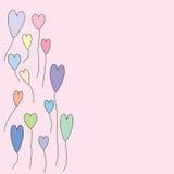 Balões no fundo do cumprimento da forma do coração Foto de Stock