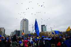 Balões para o dia da União Europeia em Bucareste, Romênia Fotografia de Stock Royalty Free