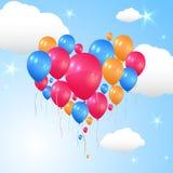 Balões que dão forma a um vôo do coração no ar ilustração do vetor