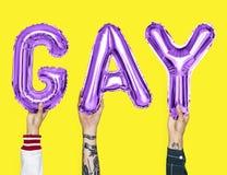 Balões roxos do alfabeto que formam o homossexual da palavra foto de stock royalty free