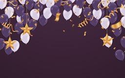 Balões roxos escuros com balões brancos em um roxo bonito b ilustração royalty free