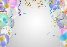 Balões transparentes coloridos realísticos com bandeiras coloridas hap ilustração stock