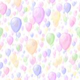 Balões transparentes da cor Vector o teste padrão sem emenda fundo repetitivo simples do bebê pintura de matéria têxtil Amostra d ilustração stock