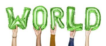 Balões verdes do alfabeto que formam o mundo da palavra foto de stock