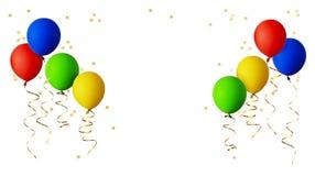 Balões vermelhos, azuis, verdes e amarelos com fitas e estrela do ouro Imagens de Stock Royalty Free