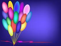 Balões vermelhos do aniversário do fundo do vetor da decoração da fita Fotos de Stock Royalty Free