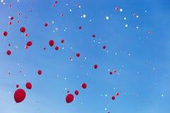 Balões vermelhos e brancos Imagem de Stock