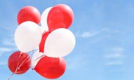Balões vermelhos e brancos Fotografia de Stock Royalty Free