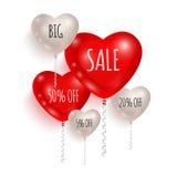 Balões vermelhos e brancos Venda 02 Fotografia de Stock Royalty Free