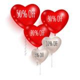 Balões vermelhos e brancos Venda 01 Fotos de Stock Royalty Free