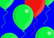 Balões vermelhos e verdes Imagens de Stock Royalty Free