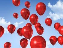 Balões vermelhos em um céu azul ilustração royalty free