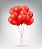 Balões vermelhos lustrosos realísticos de voo com conceito do partido e da celebração no fundo branco ilustração royalty free