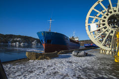 Bal bulk arriving halden harbor Royalty Free Stock Photography