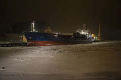 Bal bulk moored to the quay at the port of Halden, early morning Royalty Free Stock Images