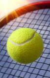 Bal en racket stock afbeelding
