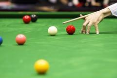 Bal en Snookerspeler Stock Afbeelding